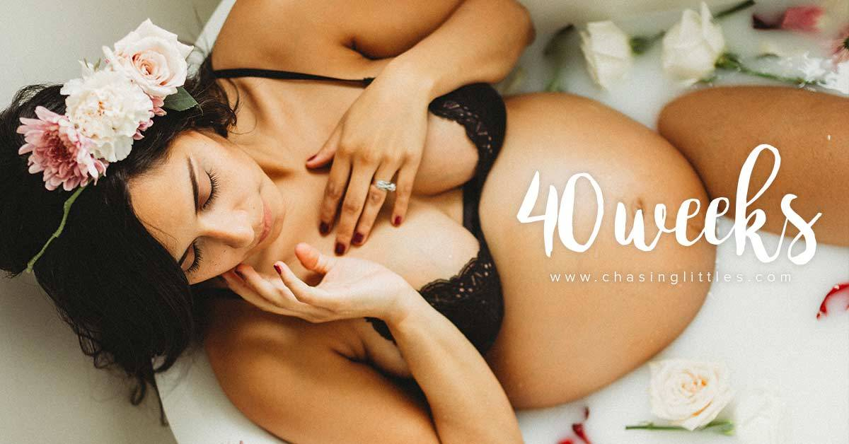 40 weeks pregnant - milk bath photo